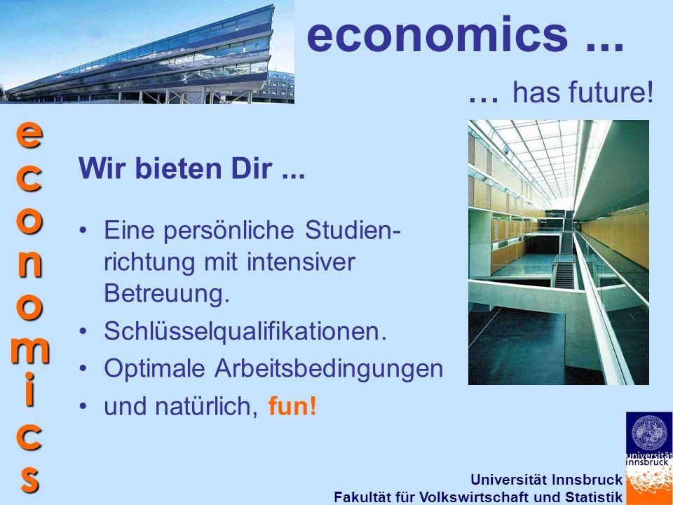 Universität Innsbruck Fakultät für Volkswirtschaft und Statistik economics economics...... has future! Eine persönliche Studien- richtung mit intensiv