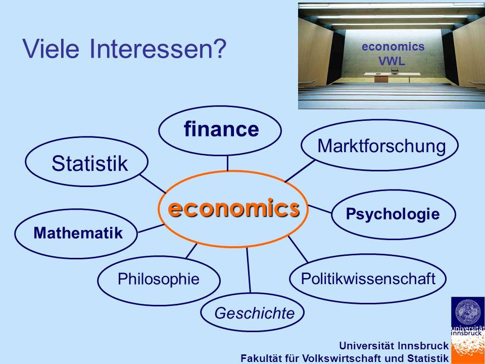 Universität Innsbruck Fakultät für Volkswirtschaft und Statistik economics finance Philosophie Mathematik Statistik Geschichte economics VWL Viele Interessen.