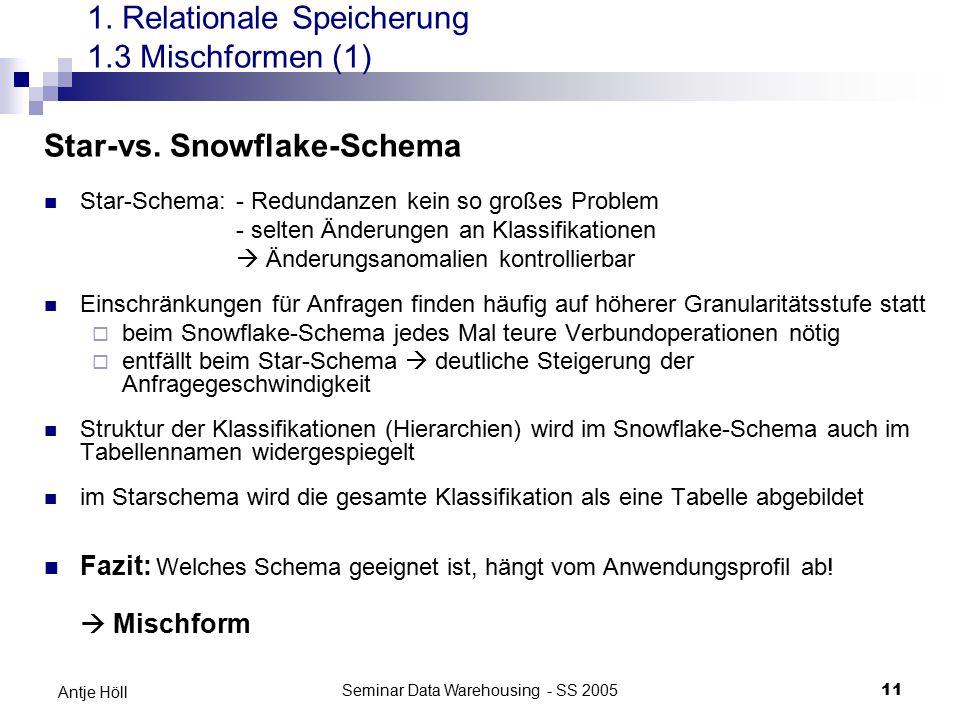 Seminar Data Warehousing - SS 200511 Antje Höll Star-vs. Snowflake-Schema Star-Schema: - Redundanzen kein so großes Problem - selten Änderungen an Kla