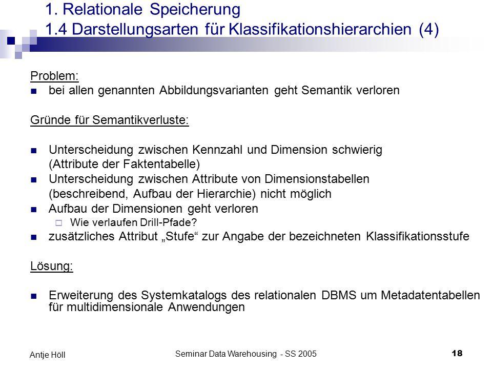 Seminar Data Warehousing - SS 200518 Antje Höll Problem: bei allen genannten Abbildungsvarianten geht Semantik verloren Gründe für Semantikverluste: U