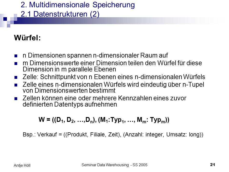 Seminar Data Warehousing - SS 200521 Antje Höll Würfel: n Dimensionen spannen n-dimensionaler Raum auf m Dimensionswerte einer Dimension teilen den Wü