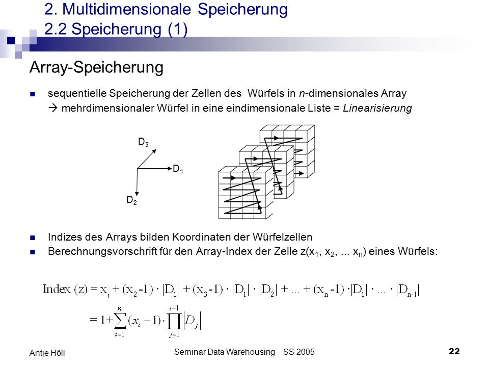 Seminar Data Warehousing - SS 200522 Antje Höll 2. Multidimensionale Speicherung 2.2 Speicherung (1) Array-Speicherung sequentielle Speicherung der Ze
