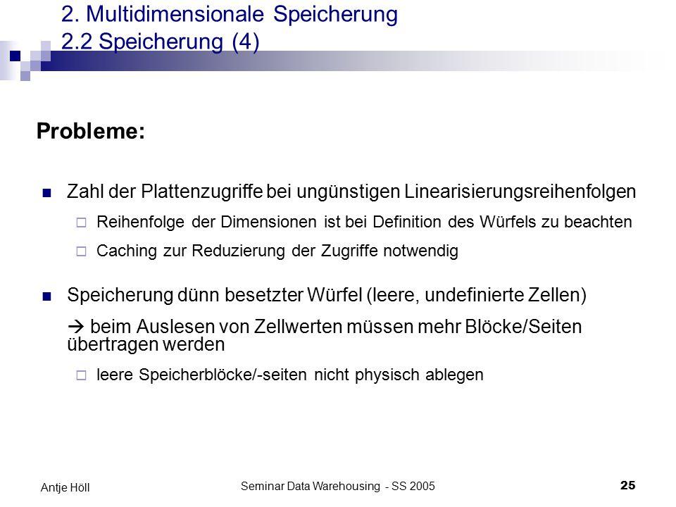 Seminar Data Warehousing - SS 200525 Antje Höll Zahl der Plattenzugriffe bei ungünstigen Linearisierungsreihenfolgen  Reihenfolge der Dimensionen ist