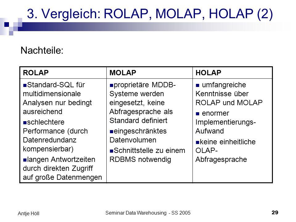 Seminar Data Warehousing - SS 200529 Antje Höll 3. Vergleich: ROLAP, MOLAP, HOLAP (2) ROLAPMOLAPHOLAP Standard-SQL für multidimensionale Analysen nur