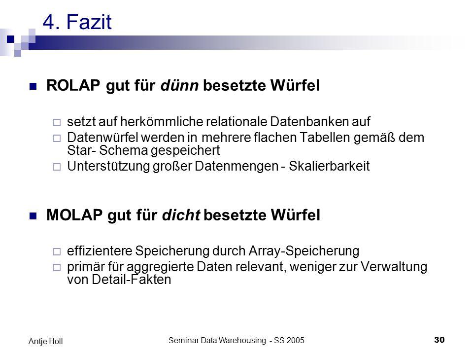 Seminar Data Warehousing - SS 200530 Antje Höll ROLAP gut für dünn besetzte Würfel  setzt auf herkömmliche relationale Datenbanken auf  Datenwürfel