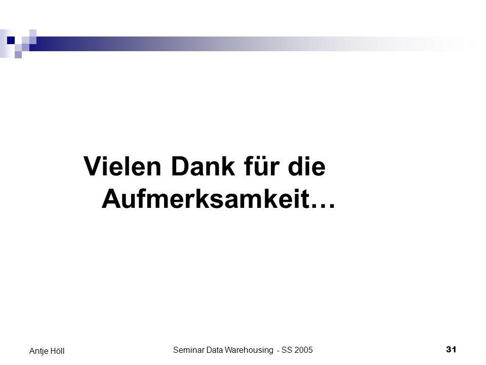 Seminar Data Warehousing - SS 200531 Antje Höll Vielen Dank für die Aufmerksamkeit…
