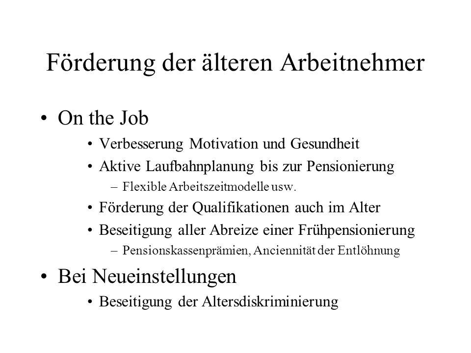 Förderung der älteren Arbeitnehmer On the Job Verbesserung Motivation und Gesundheit Aktive Laufbahnplanung bis zur Pensionierung –Flexible Arbeitszeitmodelle usw.