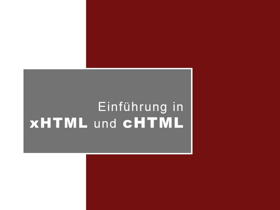 Einführung xHTML / cHTML Stefan Pietschmann | Katja Pischke cHTML | Überblick Optimiert für Kleingeräte wie PDAs, Mobiles mit eingeschränkter Hardware-/Speicherkapazität Untermenge von HTML 2.0, 3.2 und 4.0  nicht XML basiert Seit 1998er W3C Note Eingeschränkter Befehlssatz Eine Seite, keine Cards à la WAP Basis für i-mode