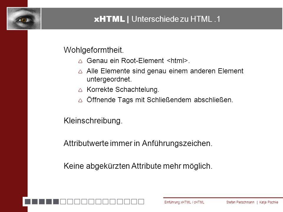 Einführung xHTML / cHTML Stefan Pietschmann | Katja Pischke Links Note der W3C für cHTML http://www.w3.org/TR/1998/NOTE-compactHTML-19980209/ Tag-Liste cHTML: http://www.imodeforum.de/chtml.php4 cHTML Tutorial und Beispiele: http://sten-schmidt.de/imode/tutorial.shtml Recommendation der W3C für xHTML, DTDs http://www.w3.org/TR/xhtml1/ xHTML - Referenz und Tutorial: http://www.w3schools.com/xhtml/ xHTML - Referenz http://selfhtml.teamone.de/html/referenz/attribute.htm