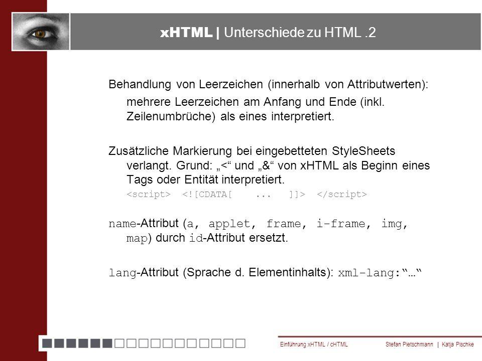 Einführung xHTML / cHTML Stefan Pietschmann | Katja Pischke Behandlung von Leerzeichen (innerhalb von Attributwerten): mehrere Leerzeichen am Anfang und Ende (inkl.