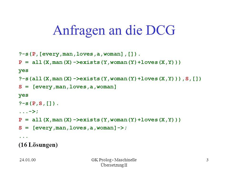 24.01.00GK Prolog - Maschinelle Übersetzung II 4 NPs mit Relativsätzen Every man that lives loves a woman.
