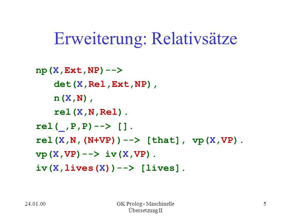 24.01.00GK Prolog - Maschinelle Übersetzung II 6 Rekursion über Relativsätze s(_,S,[])....->; S = [every,man,that,loves,a,man,that, loves,a,man,that,loves,a,man,that, loves,a,man,that,loves,a,man, that,...