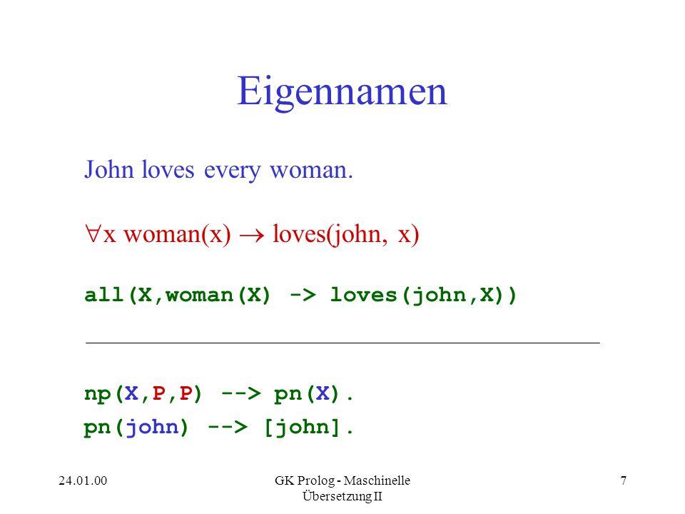 24.01.00GK Prolog - Maschinelle Übersetzung II 8 Problem mit Eigennamen ?- P = all(X,woman(X) -> loves(john,X)), s(P,S,[]).