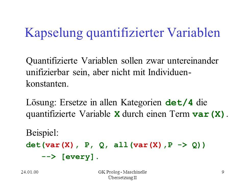 24.01.00GK Prolog - Maschinelle Übersetzung II 9 Kapselung quantifizierter Variablen Quantifizierte Variablen sollen zwar untereinander unifizierbar sein, aber nicht mit Individuen- konstanten.