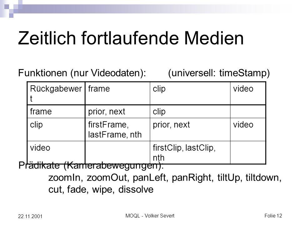 MOQL - Volker SevertFolie 12 22.11.2001 Zeitlich fortlaufende Medien Funktionen (nur Videodaten):(universell: timeStamp) Rückgabewer t frameclipvideo frameprior, nextclip firstFrame, lastFrame, nth prior, nextvideo firstClip, lastClip, nth Prädikate (Kamerabewegungen): zoomIn, zoomOut, panLeft, panRight, tiltUp, tiltdown, cut, fade, wipe, dissolve