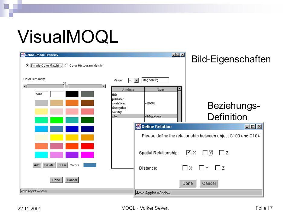 MOQL - Volker SevertFolie 17 22.11.2001 VisualMOQL Bild-Eigenschaften Beziehungs- Definition