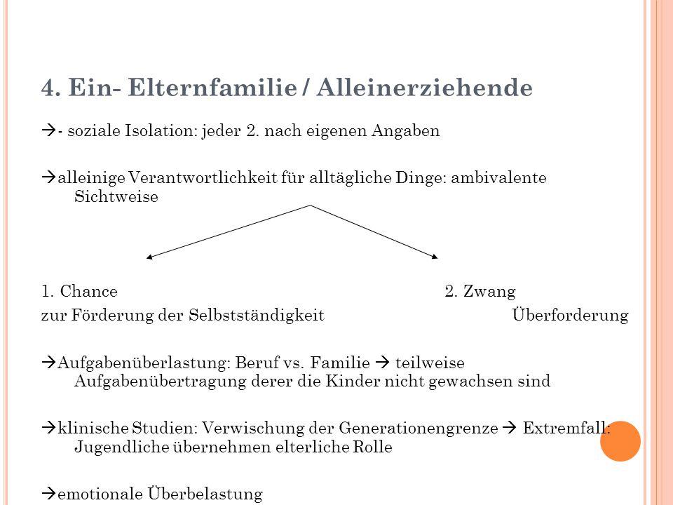 4.Ein- Elternfamilie / Alleinerziehende  - soziale Isolation: jeder 2.
