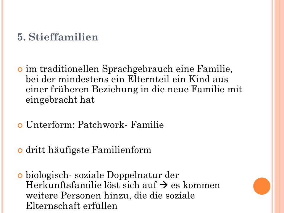 5. Stieffamilien im traditionellen Sprachgebrauch eine Familie, bei der mindestens ein Elternteil ein Kind aus einer früheren Beziehung in die neue Fa
