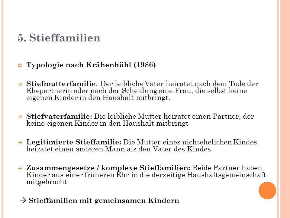 5. Stieffamilien Typologie nach Krähenbühl (1986)  Stiefmutterfamilie : Der leibliche Vater heiratet nach dem Tode der Ehepartnerin oder nach der Sch