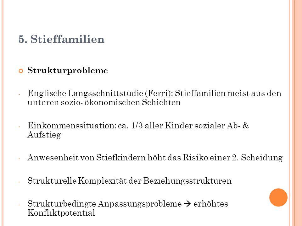 5. Stieffamilien Strukturprobleme - Englische Längsschnittstudie (Ferri): Stieffamilien meist aus den unteren sozio- ökonomischen Schichten - Einkomme