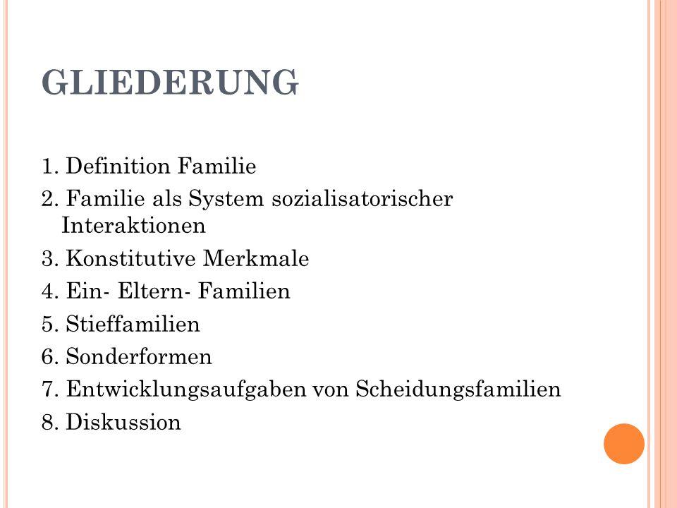 GLIEDERUNG 1. Definition Familie 2. Familie als System sozialisatorischer Interaktionen 3. Konstitutive Merkmale 4. Ein- Eltern- Familien 5. Stieffami