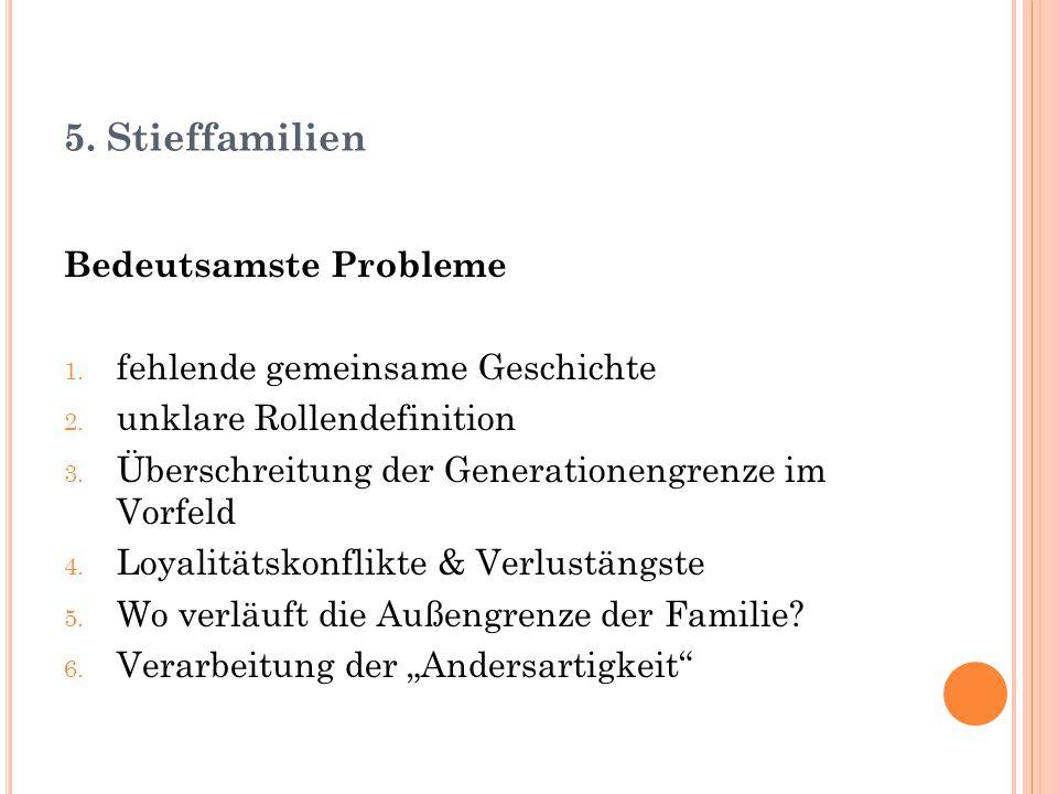 5. Stieffamilien Bedeutsamste Probleme 1. fehlende gemeinsame Geschichte 2. unklare Rollendefinition 3. Überschreitung der Generationengrenze im Vorfe
