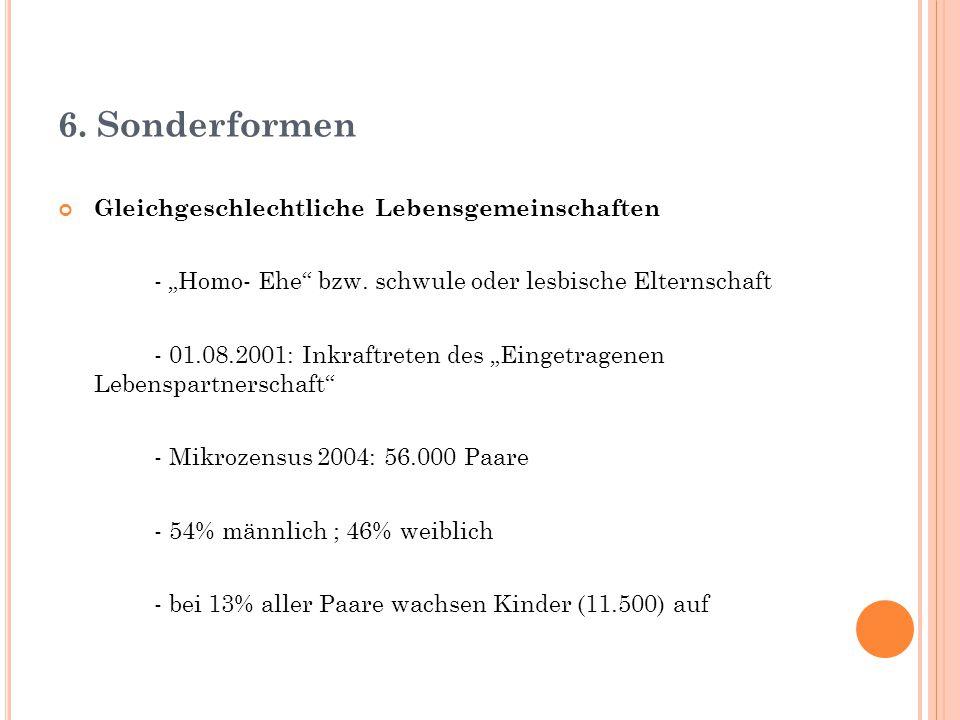"""6. Sonderformen Gleichgeschlechtliche Lebensgemeinschaften - """"Homo- Ehe"""" bzw. schwule oder lesbische Elternschaft - 01.08.2001: Inkraftreten des """"Eing"""