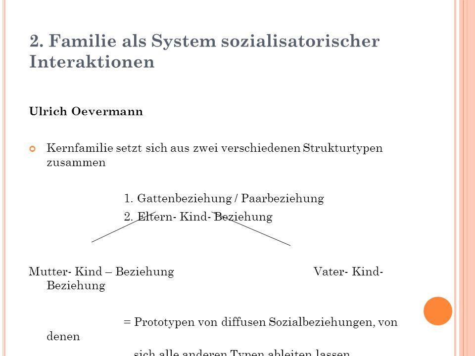 2. Familie als System sozialisatorischer Interaktionen Ulrich Oevermann Kernfamilie setzt sich aus zwei verschiedenen Strukturtypen zusammen 1. Gatten