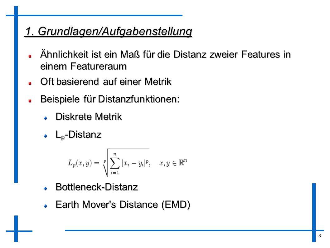 8 1. Grundlagen/Aufgabenstellung Ähnlichkeit ist ein Maß für die Distanz zweier Features in einem Featureraum Oft basierend auf einer Metrik Beispiele
