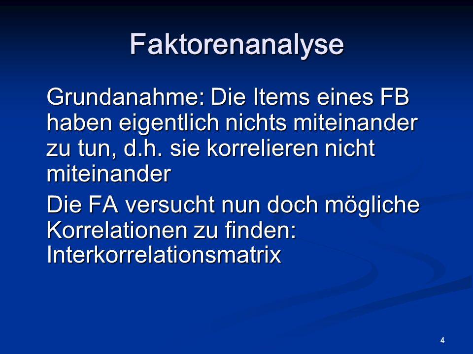 4 Grundanahme: Die Items eines FB haben eigentlich nichts miteinander zu tun, d.h. sie korrelieren nicht miteinander Die FA versucht nun doch mögliche