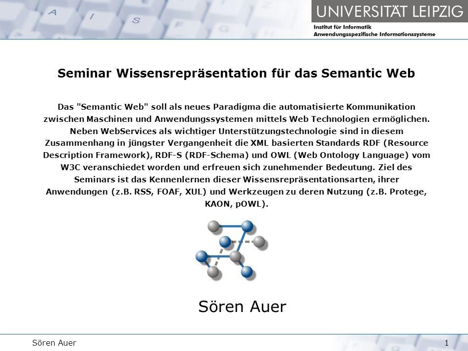 Wissensrepräsentation für das Semantic Web 1223.04.2004Sören Auer Resource Description Framework Container Beispiel … Romy Kyril Ivonne … http://www.servcase.de Creator _3 _1 Romy _2 KyrilIvonne