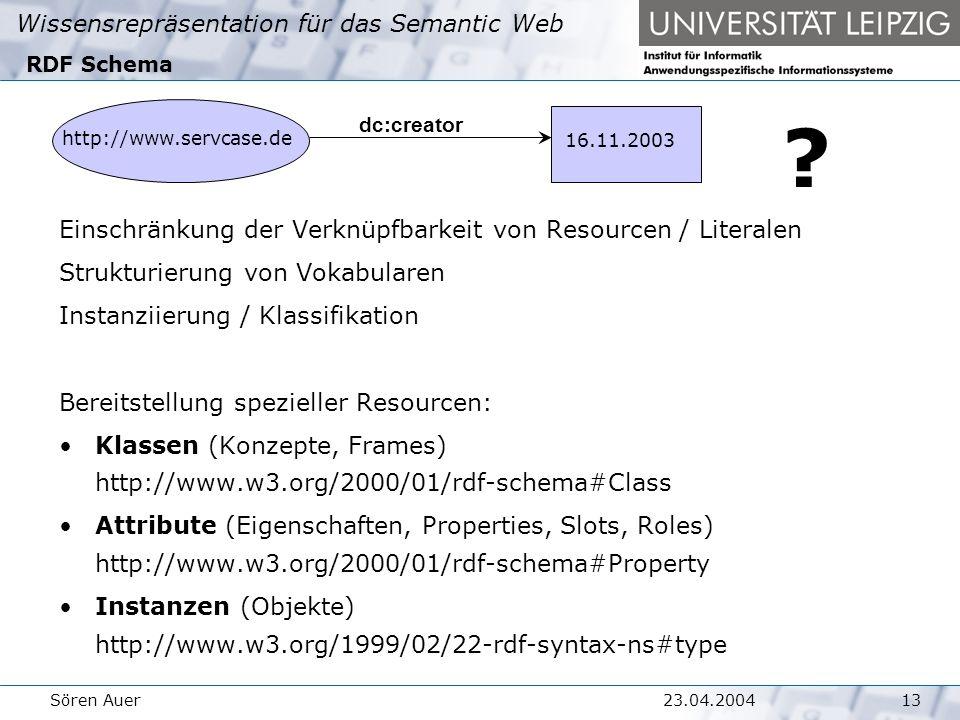 Wissensrepräsentation für das Semantic Web 1323.04.2004Sören Auer RDF Schema .