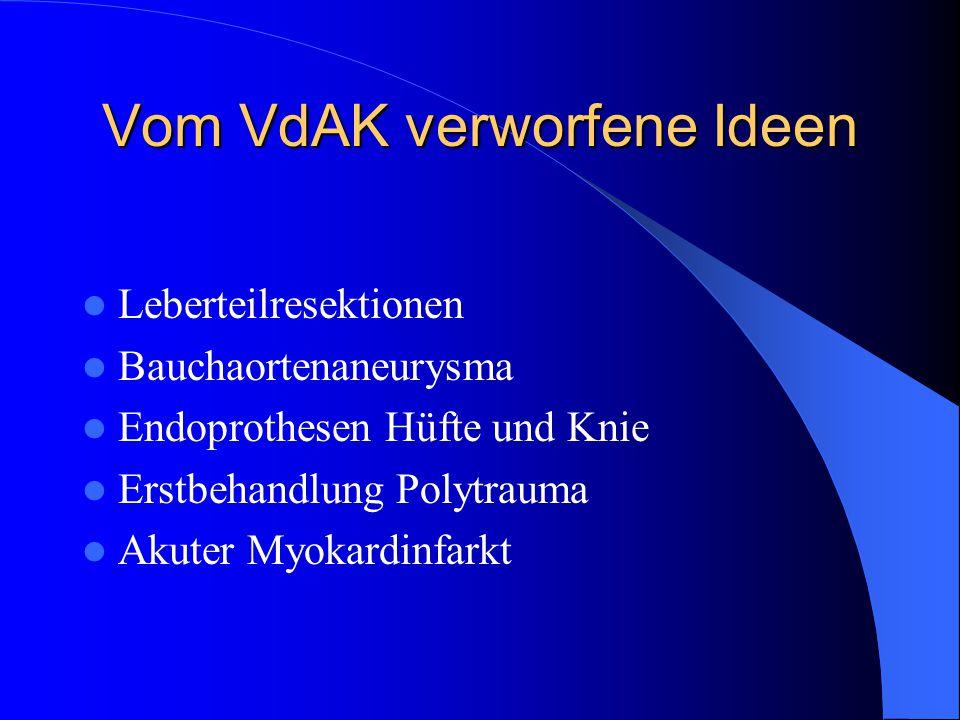 Vom VdAK verworfene Ideen Leberteilresektionen Bauchaortenaneurysma Endoprothesen Hüfte und Knie Erstbehandlung Polytrauma Akuter Myokardinfarkt
