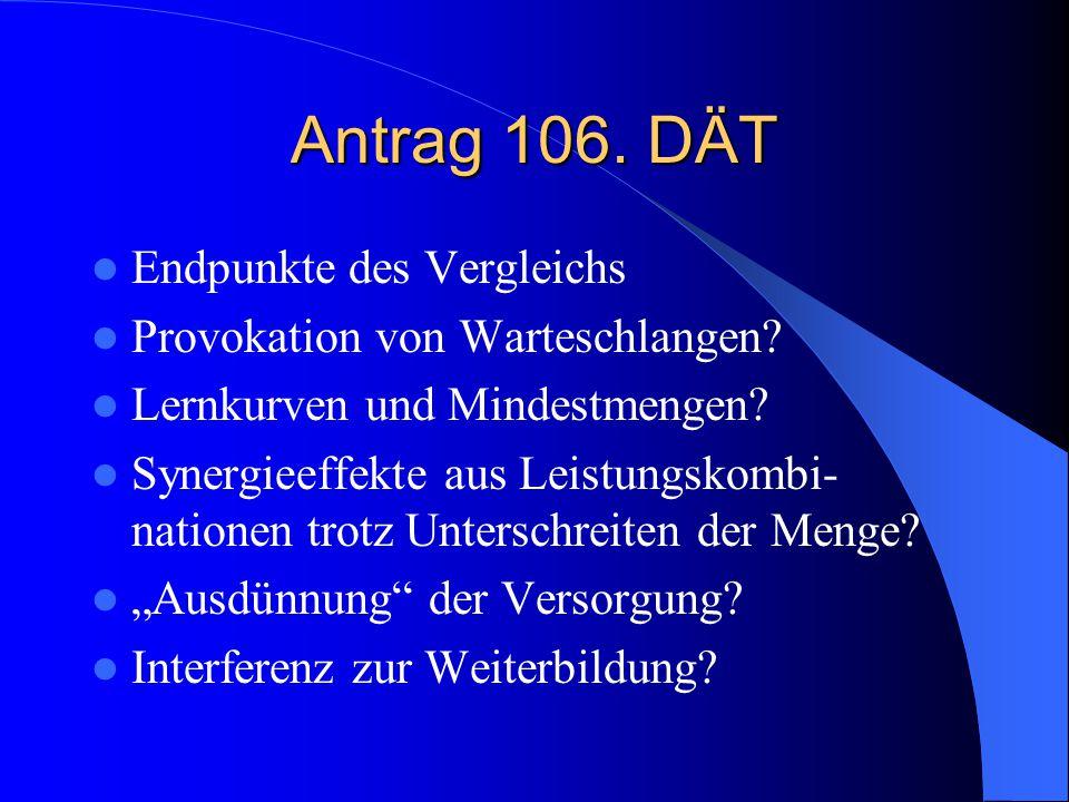 Antrag 106. DÄT Endpunkte des Vergleichs Provokation von Warteschlangen.
