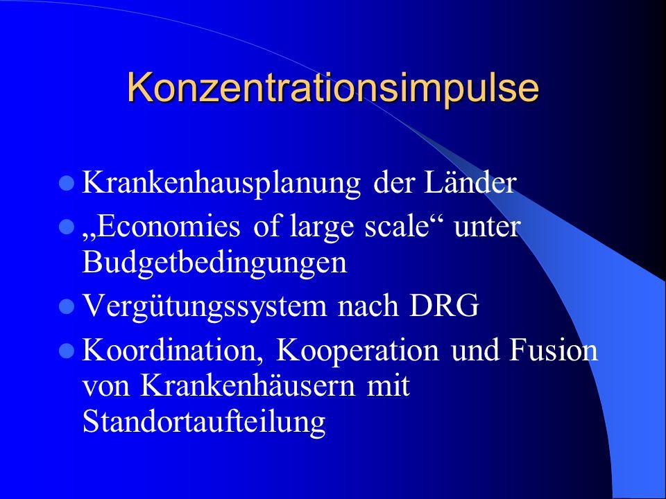 """Konzentrationsimpulse Krankenhausplanung der Länder """"Economies of large scale unter Budgetbedingungen Vergütungssystem nach DRG Koordination, Kooperation und Fusion von Krankenhäusern mit Standortaufteilung"""