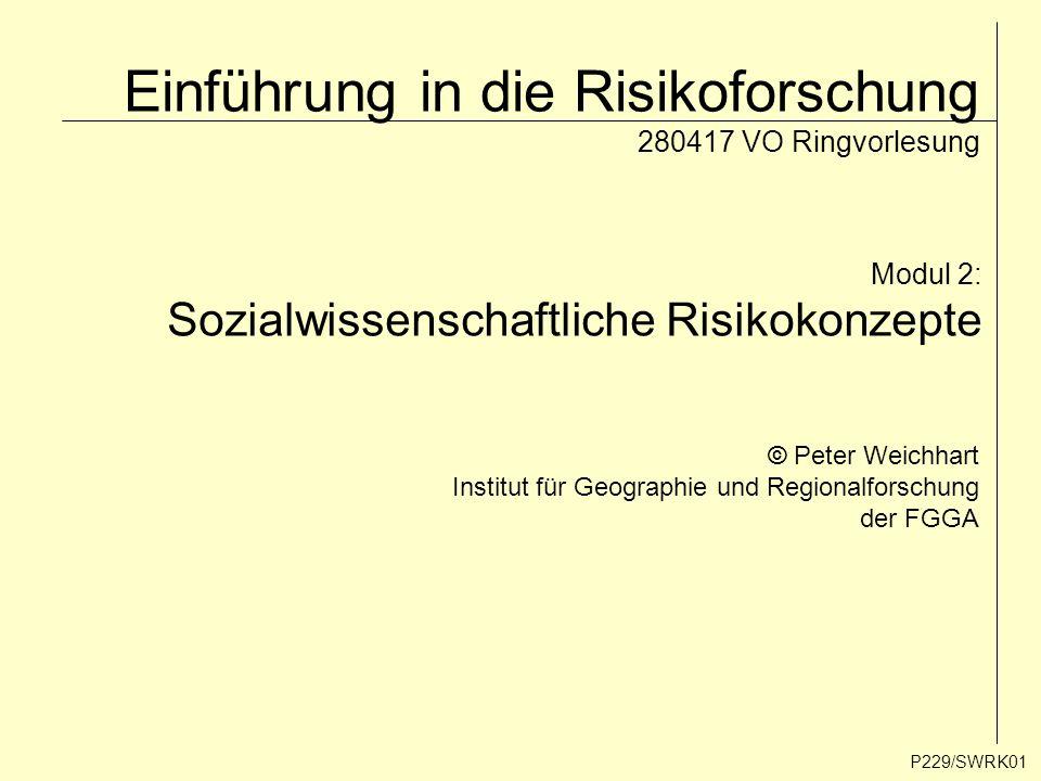 Einführung in die Risikoforschung 280417 VO Ringvorlesung Modul 2: Sozialwissenschaftliche Risikokonzepte © Peter Weichhart Institut für Geographie un