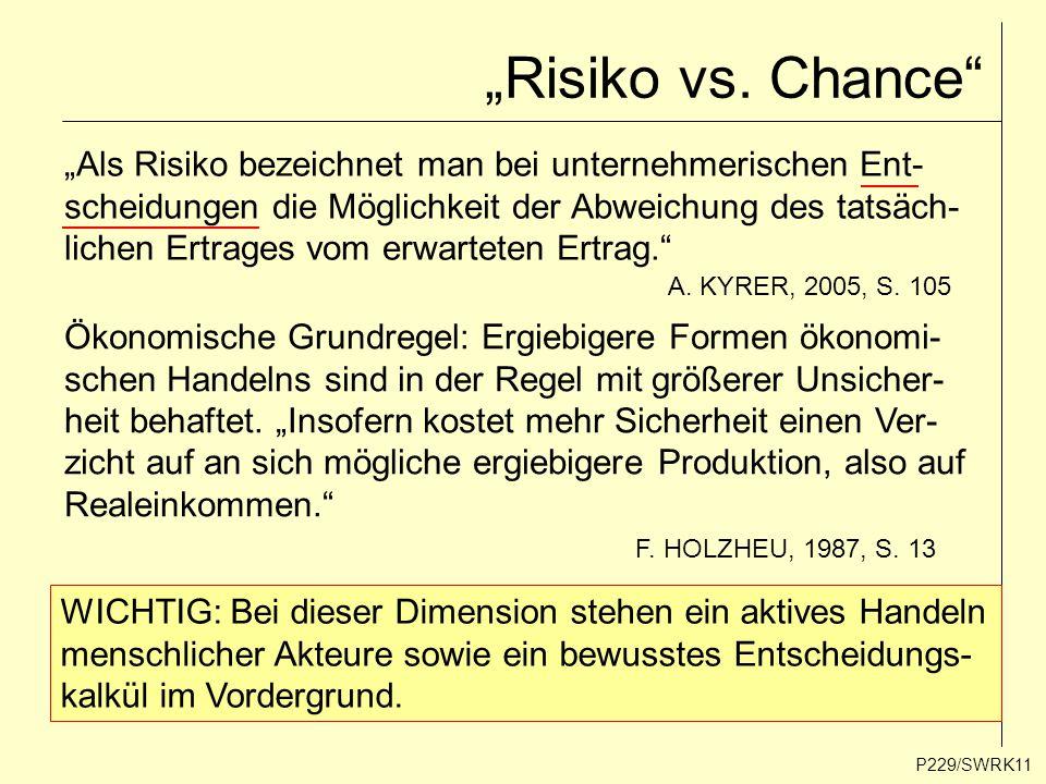 """""""Risiko vs. Chance"""" P229/SWRK11 """"Als Risiko bezeichnet man bei unternehmerischen Ent- scheidungen die Möglichkeit der Abweichung des tatsäch- lichen E"""