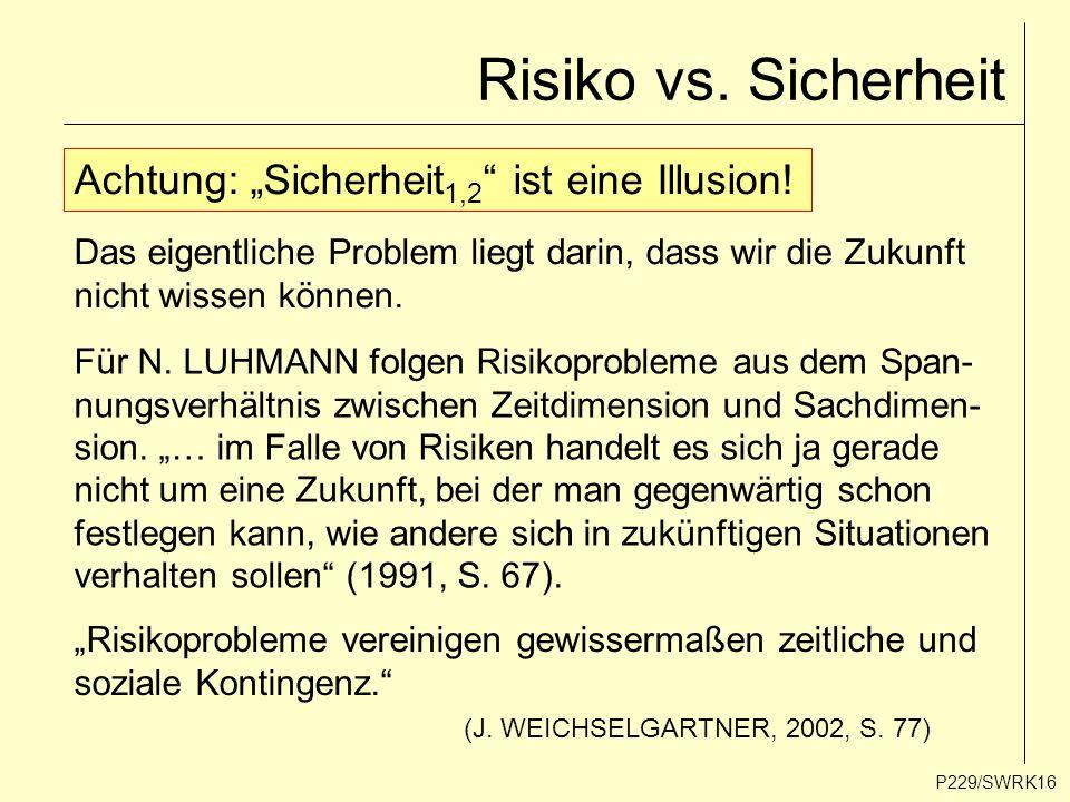 """Risiko vs. Sicherheit P229/SWRK16 Achtung: """"Sicherheit 1,2 """" ist eine Illusion! Das eigentliche Problem liegt darin, dass wir die Zukunft nicht wissen"""