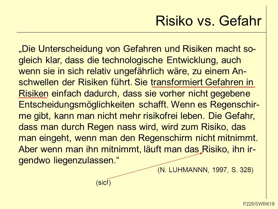 """Risiko vs. Gefahr P229/SWRK19 """"Die Unterscheidung von Gefahren und Risiken macht so- gleich klar, dass die technologische Entwicklung, auch wenn sie i"""
