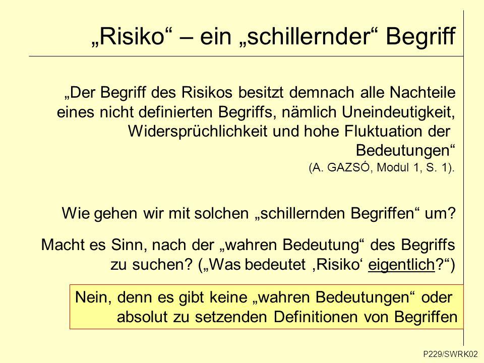 """""""Risiko"""" – ein """"schillernder"""" Begriff P229/SWRK02 """"Der Begriff des Risikos besitzt demnach alle Nachteile eines nicht definierten Begriffs, nämlich Un"""