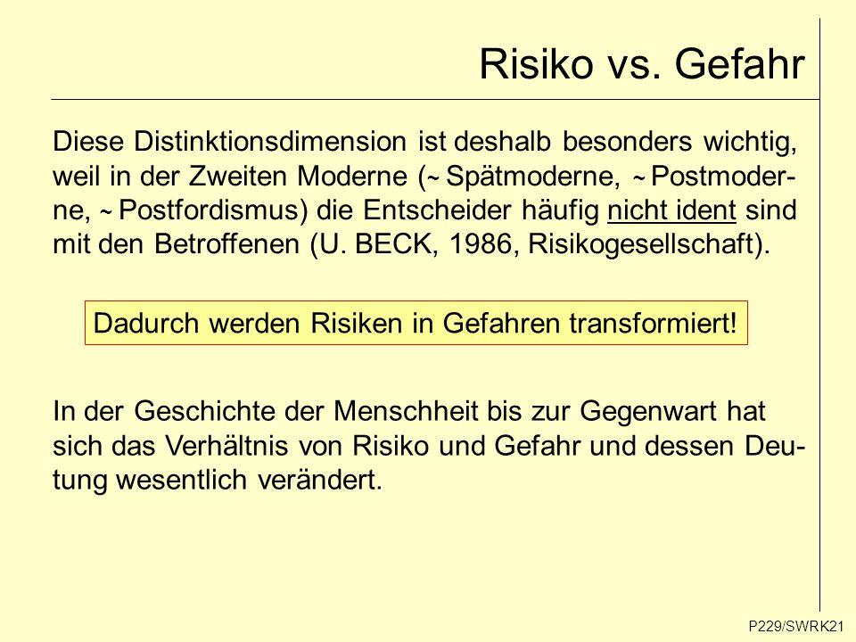 P229/SWRK21 Risiko vs. Gefahr Diese Distinktionsdimension ist deshalb besonders wichtig, weil in der Zweiten Moderne ( ~ Spätmoderne, ~ Postmoder- ne,