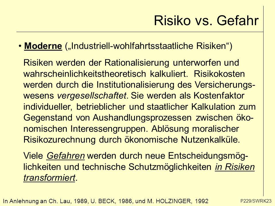 """P229/SWRK23 In Anlehnung an Ch. Lau, 1989, U. BECK, 1986, und M. HOLZINGER, 1992 Risiko vs. Gefahr Moderne (""""Industriell-wohlfahrtsstaatliche Risiken"""""""