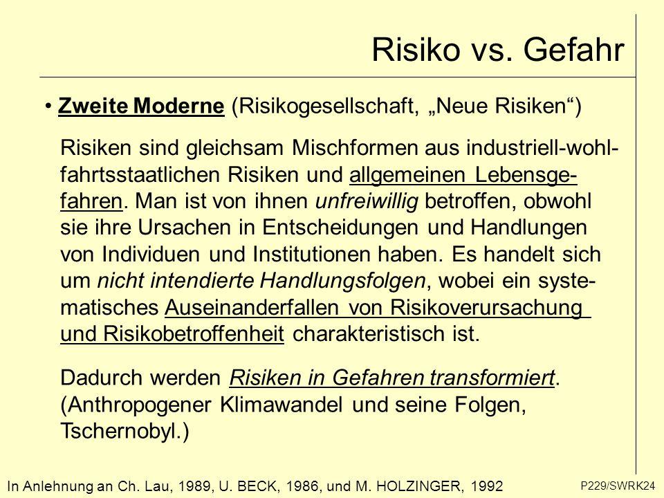 """P229/SWRK24 In Anlehnung an Ch. Lau, 1989, U. BECK, 1986, und M. HOLZINGER, 1992 Risiko vs. Gefahr Zweite Moderne (Risikogesellschaft, """"Neue Risiken"""")"""