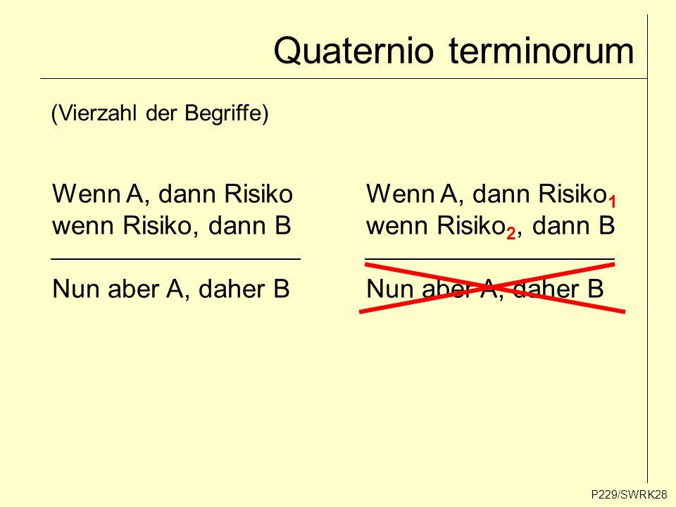 Quaternio terminorum P229/SWRK28 (Vierzahl der Begriffe) Wenn A, dann Risiko wenn Risiko, dann B Nun aber A, daher B Wenn A, dann Risiko 1 wenn Risiko