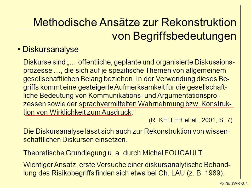 """Methodische Ansätze zur Rekonstruktion von Begriffsbedeutungen P229/SWRK04 Diskursanalyse Diskurse sind """"… öffentliche, geplante und organisierte Disk"""