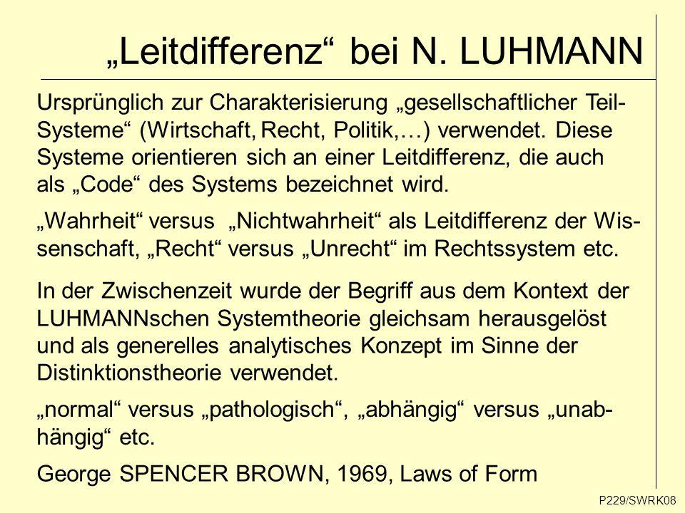 """""""Leitdifferenz"""" bei N. LUHMANN P229/SWRK08 Ursprünglich zur Charakterisierung """"gesellschaftlicher Teil- Systeme"""" (Wirtschaft, Recht, Politik,…) verwen"""