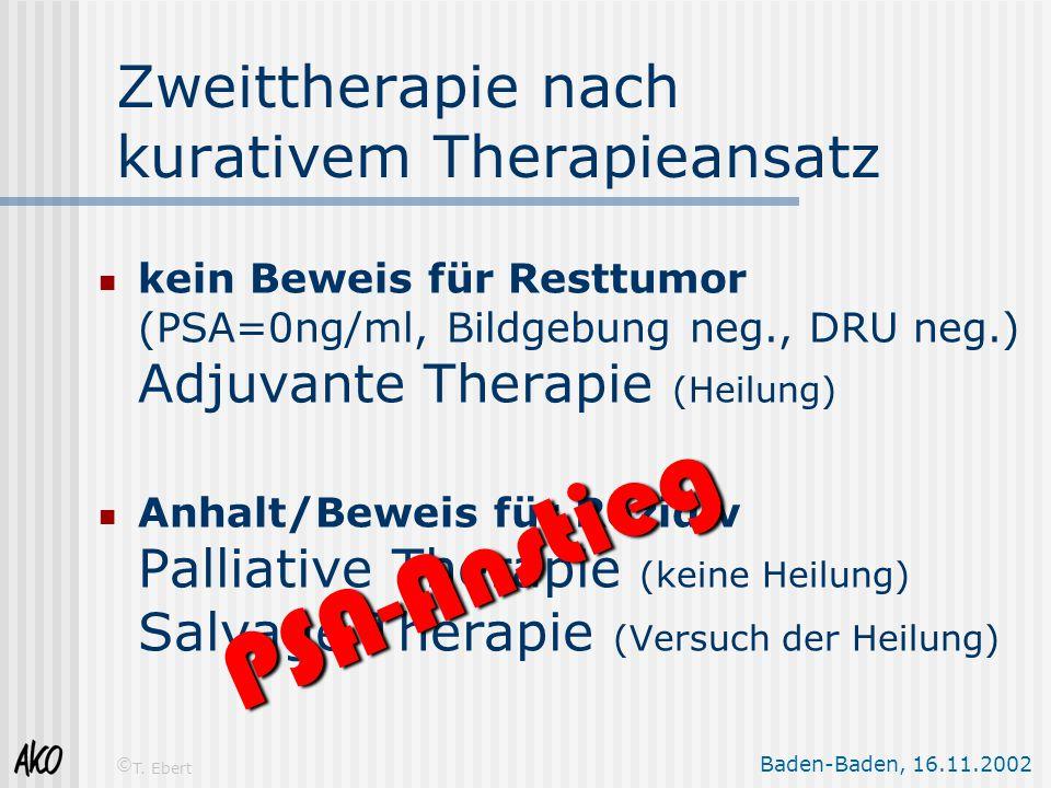 Baden-Baden, 16.11.2002 © T. Ebert Zweittherapie nach kurativem Therapieansatz kein Beweis für Resttumor (PSA=0ng/ml, Bildgebung neg., DRU neg.) Adjuv