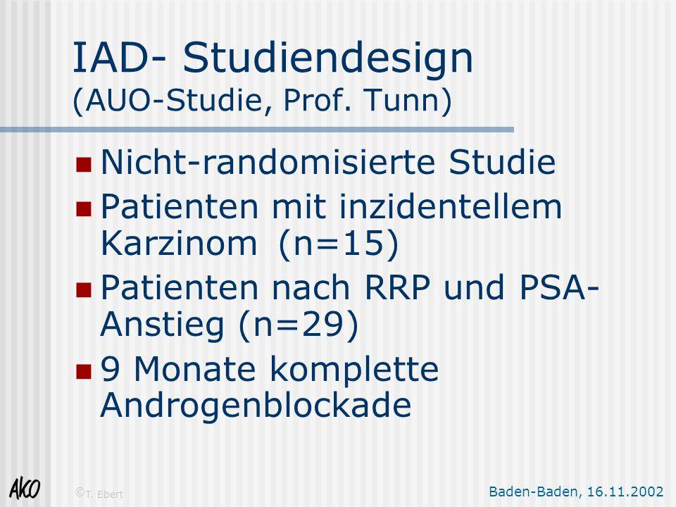Baden-Baden, 16.11.2002 © T. Ebert IAD- Studiendesign (AUO-Studie, Prof. Tunn) Nicht-randomisierte Studie Patienten mit inzidentellem Karzinom(n=15) P