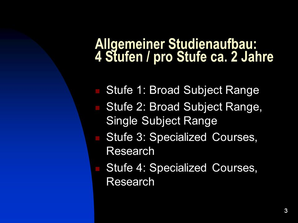 3 Allgemeiner Studienaufbau: 4 Stufen / pro Stufe ca. 2 Jahre Stufe 1: Broad Subject Range Stufe 2: Broad Subject Range, Single Subject Range Stufe 3:
