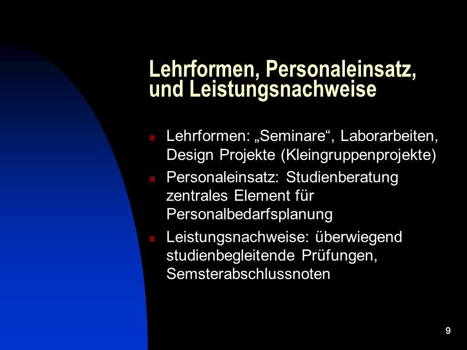 """9 Lehrformen, Personaleinsatz, und Leistungsnachweise Lehrformen: """"Seminare"""", Laborarbeiten, Design Projekte (Kleingruppenprojekte) Personaleinsatz: S"""